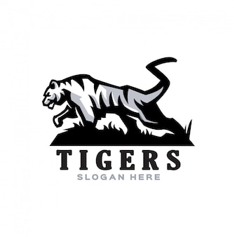 Elegant wit tijgermascotte-logo voor verschillende activiteiten