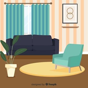 Elegant woonkamerbinnenland met vlak ontwerp