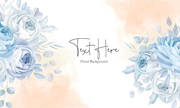 Elegant zacht blauw bloemenontwerp als achtergrond Gratis Vector