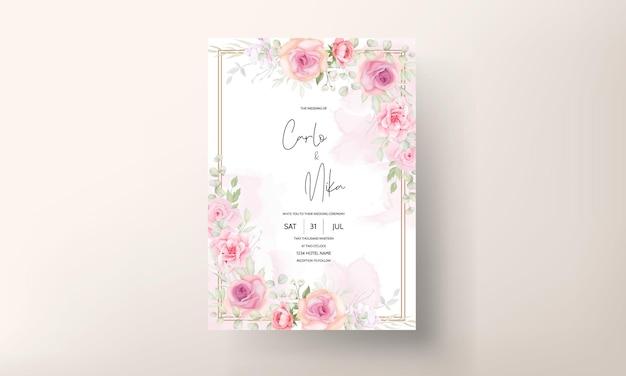 Elegant zacht bloemen de kaartontwerp van de huwelijksuitnodiging