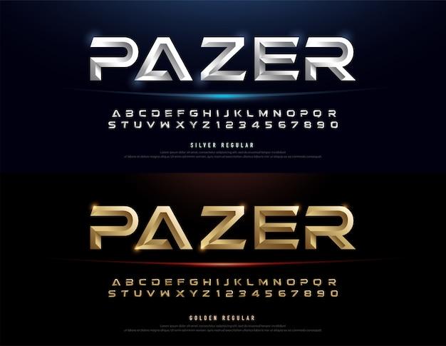 Elegant zilver en goud 3d metalen alfabet lettertype