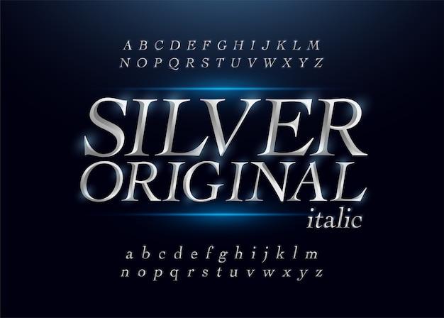 Elegant, zilverkleurig, metalen, chrome, alfabet, cursief, font