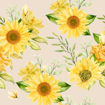 Elegant zonnebloemen naadloos patroon