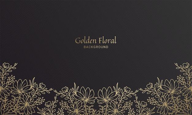 Elegant zwart en goud onder bloemenplant blad handgetekende illustratie
