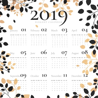 Elegante 2019 kalender met florale lijst