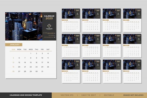 Elegante 2020 kalendersjabloonreeks