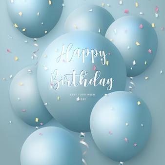 Elegante 3d-realistische ballon en party popper lint gelukkige verjaardag viering kaart banner sjabloon achtergrond