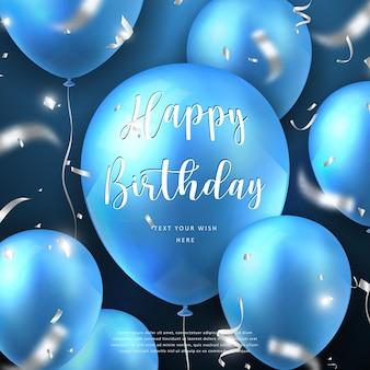 Elegante 3d realistische gouden blauwe ballon en party popper zilveren lint gelukkige verjaardag viering kaart banner sjabloon achtergrond