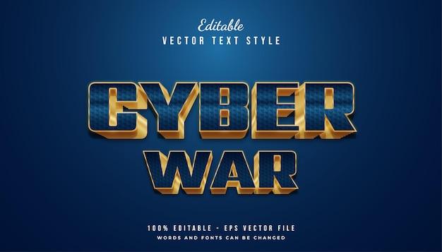 Elegante 3d-vetgedrukte blauwe en gouden tekststijl met textuureffect