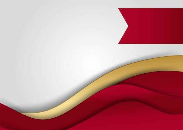 Elegante abstracte rode achtergrond met geometrische driehoek vorm en lijn gouden elementen. realistische luxe papier gesneden stijl 3d modern concept. vectorillustratie voor ontwerp