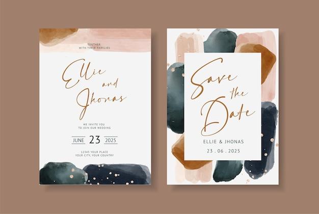 Elegante abstracte waterverf op de uitnodiging van de huwelijkskaart