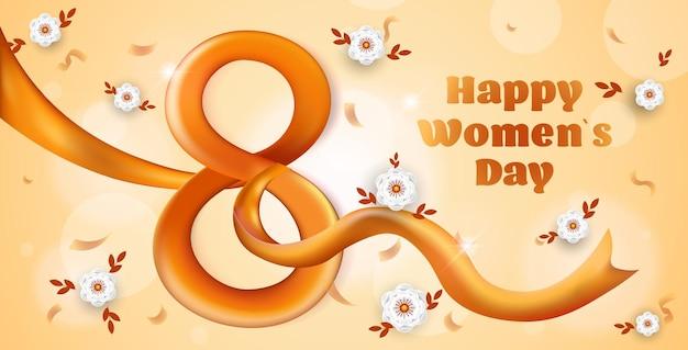 Elegante acht nummer vrouwendag 8 maart vakantie feest banner flyer of wenskaart met lint horizontale illustratie