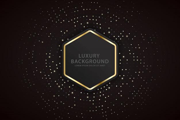 Elegante achtergrond met gouden gestreepte zeshoeken en sprankelende vlekken