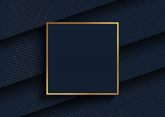Elegante achtergrond met gouden halftoonpuntenontwerp en gouden frame
