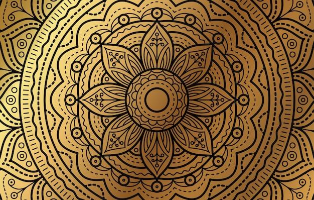 Elegante achtergrond met gouden luxe bloemenpatroon
