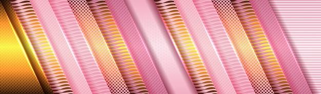 Elegante achtergrond met roze en paars papier en gouden lichte decoratie