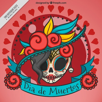 Elegante achtergrond van mexicaanse schedel