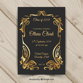 Elegante afstuderen uitnodigingssjabloon met gouden stijl