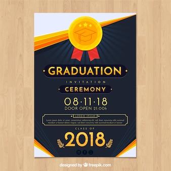 Elegante afstuderen uitnodigingssjabloon met platte ontwerp