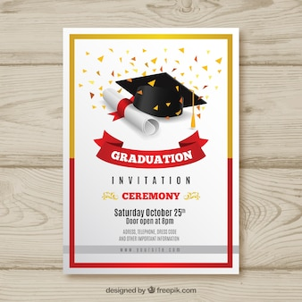 Elegante afstuderenuitnodiging met realistisch ontwerp