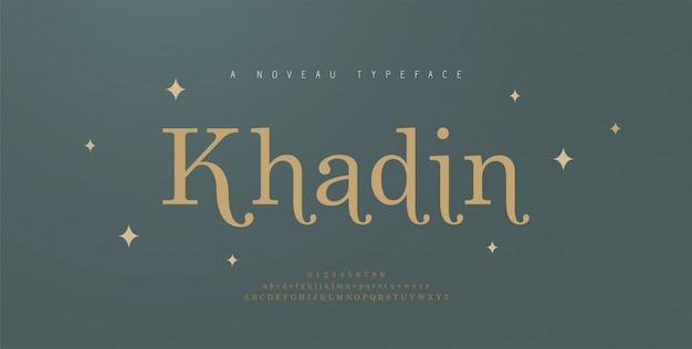 Elegante alfabet letters lettertype en nummer. klassieke belettering minimale mode bruiloft ontwerpen. typografie-lettertypen hebben regelmatig hoofdletters, kleine letters en cijfers. illustratie