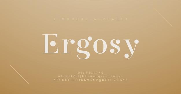 Elegante alfabet letters lettertype en nummer. klassieke belettering minimale modeontwerpen. typografische lettertypen hebben hoofdletters en kleine letters.