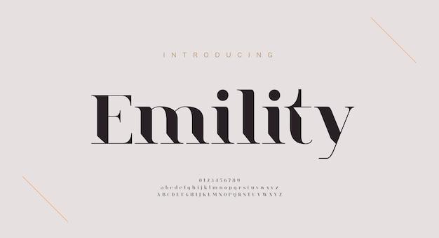 Elegante alfabet letters lettertype en nummer. klassieke koperen belettering minimale modeontwerpen. typografische lettertypen: gewone hoofdletters en kleine letters.
