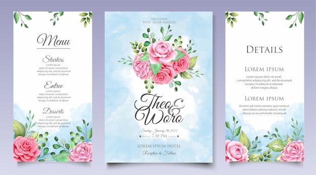 Elegante aquarel bloemen bruiloft uitnodiging kaartenset