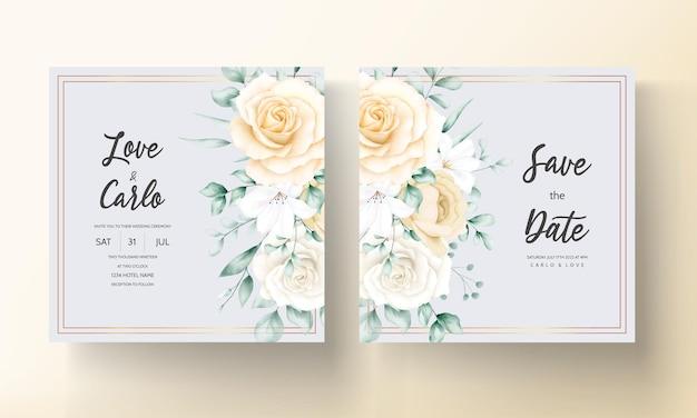 Elegante aquarel bloemen bruiloft uitnodigingen set sjabloon