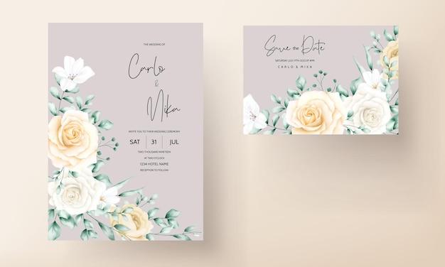Elegante aquarel bloemen bruiloft uitnodigingen set sjabloon Gratis Vector