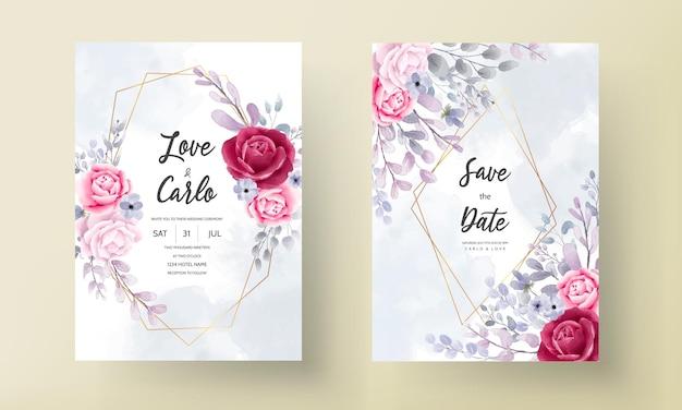 Elegante aquarel bloemen bruiloft uitnodigingskaart