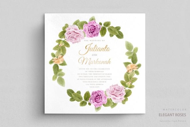 elegante aquarel bloemen bruiloft uitnodigingskaartenset