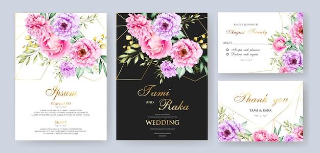 Elegante aquarel bloemen en bladeren bruiloft kaart termplate