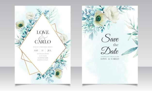 Elegante aquarel bloemen en bladeren uitnodigingskaartenset