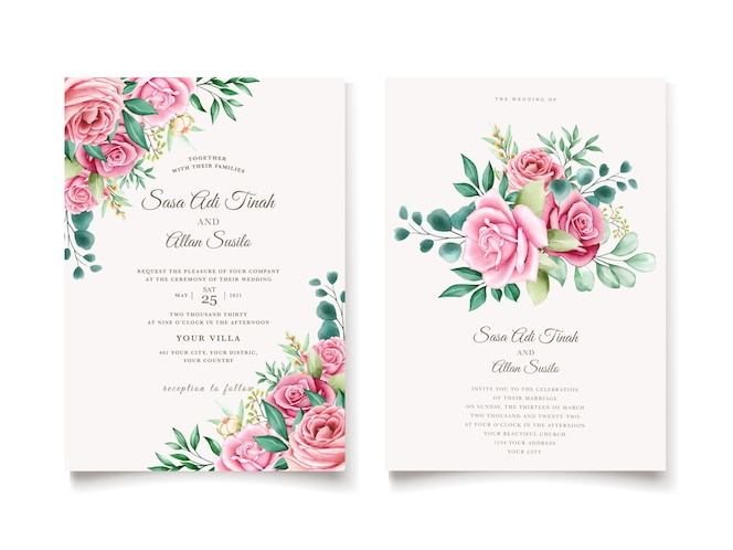 Elegante aquarel bloemen en bladeren uitnodigingskaartsjabloon