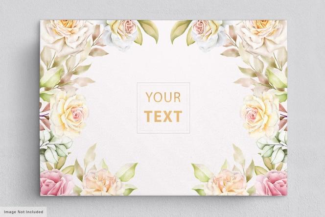 elegante aquarel bloemen met prachtige bladeren uitnodigingskaart