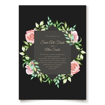 Elegante aquarel bloemen uitnodigingskaartsjabloon