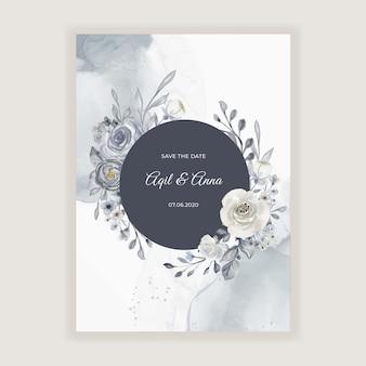 Elegante aquarel bruiloft kaart met marineblauwe en witte bloemen