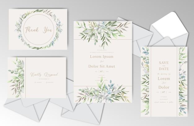 Elegante aquarel bruiloft stationaire met mooie bladeren