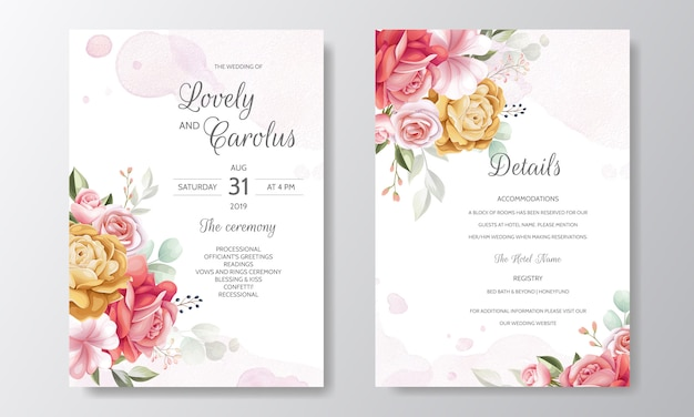 Elegante aquarel bruiloft uitnodiging kaartsjabloon ingesteld met prachtige bloemen en bladeren