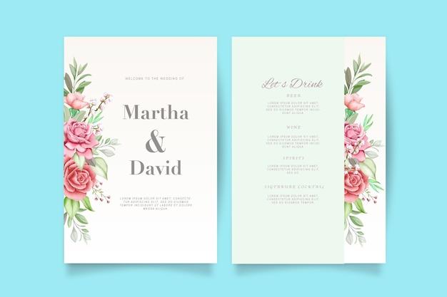 Elegante aquarel bruiloft uitnodiging set met bloemen en bladeren