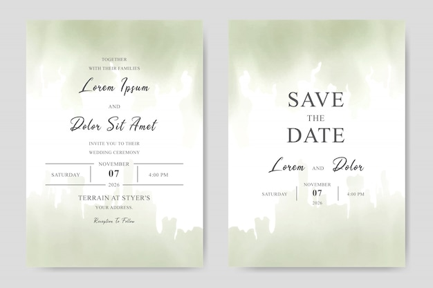 Elegante aquarel bruiloft uitnodiging sjabloon kaart