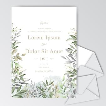 Elegante aquarel bruiloft uitnodigingskaart met groen gebladerte