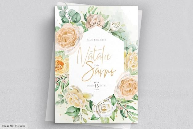 Elegante aquarel hand getekend bloemen bruiloft uitnodigingskaart