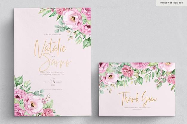 Elegante aquarel hand getrokken bloemen bruiloft uitnodigingskaart