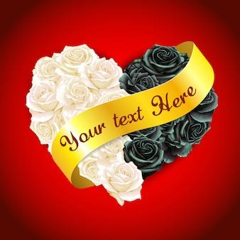 Elegante aquarel hart roos kussen met gouden vaandel