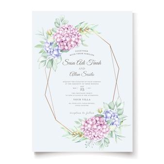 Elegante aquarel hortensia bloemen bruiloft uitnodigingskaartenset