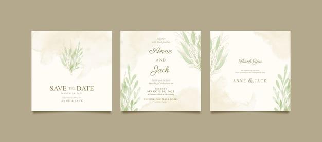 Elegante aquarel instagram-post voor bruiloft
