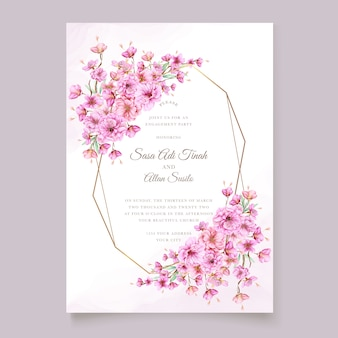 Elegante aquarel kersenbloesem uitnodiging kaartsjabloon