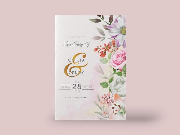 Elegante aquarel lelie en roos bruiloft uitnodigingskaartenset